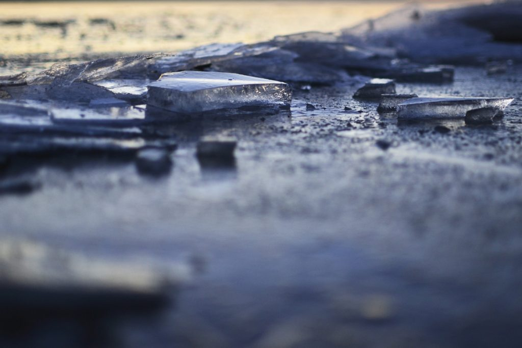 ice floe catching last sunlight